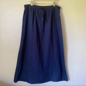 MAX STUDIO Long 100% Linen Skirt Elastic Waist 1X